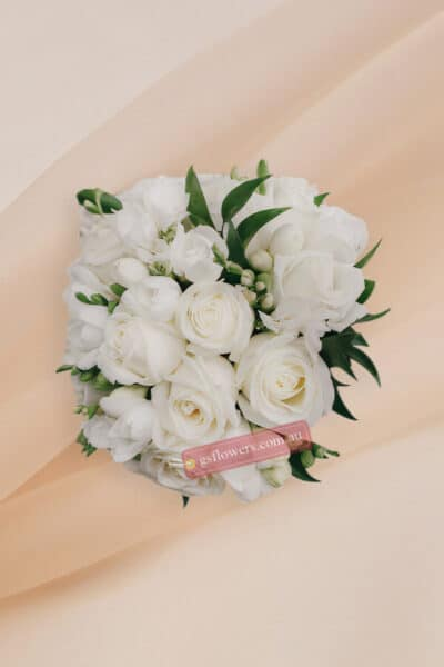 White Roses Bridal Bouquet - Wedding