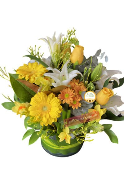 Sweet Delight Fresh Mixed Flowers - Clear Modern Vase - Floral design