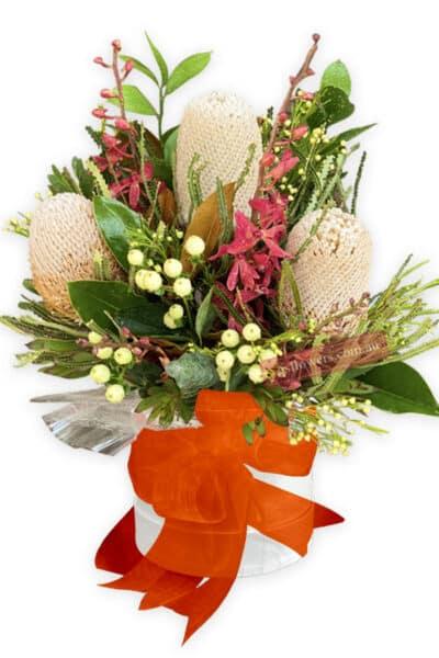 Naturally Beautiful Fresh Mixed Flowers - White Box Orange Ribbon - Floral design