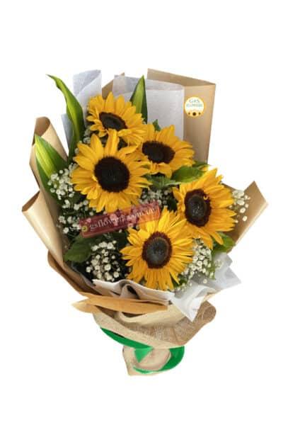 Bright n Breezy Sunflowers Bouquet - Floral design